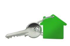 庄园概念、绿色钥匙圈和钥匙在被隔绝的背景 库存照片