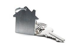 庄园概念,钥匙圈和钥匙在被隔绝的背景 图库摄影
