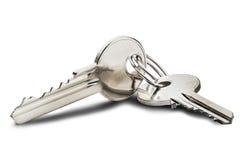 庄园概念,钥匙圈和钥匙在被隔绝的背景 库存图片