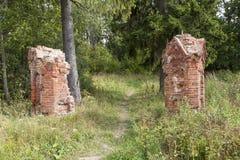 庄园的老公园遗骸给Brieskorn装门 第五山村 Volosovsky区 冬天 俄国 免版税库存图片