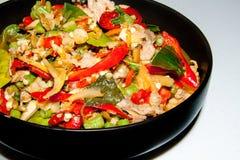 庄稼在泰国食物样式的接近的辣和五颜六色的菜单 库存图片