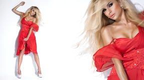 庄重装束的美丽,性感的白肤金发的妇女 库存图片