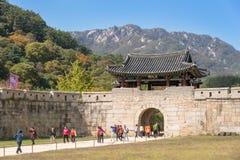 闻庆市,韩国- 2014年10月14日:Mungyeongsaej第一个门  免版税库存照片
