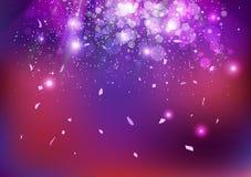 庆祝、党事件、下跌的星团和的五彩纸屑,消散,爆炸闪闪发光发光的紫色概念摘要背景 库存例证