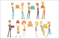 庆祝与一个欢乐蛋糕五颜六色的字符的套愉快和爱恋的人民周年导航例证 库存例证