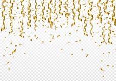 庆祝与五彩纸屑的背景在透明背景的模板和丝带 也corel凹道例证向量 皇族释放例证
