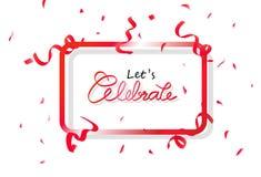 庆祝与红色五彩纸屑党、装饰落纸和的丝带,书法庆祝节日摘要的横幅框架 库存例证