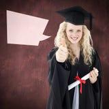 庆祝与赞许的十几岁的女孩的综合图象毕业 库存图片