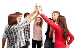 庆祝他们的成功的成功的企业小组 免版税库存照片