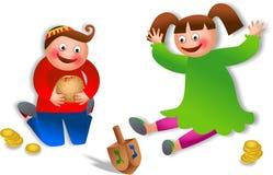 庆祝光明节的孩子 免版税库存图片
