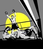 庆祝击倒的拳击手 免版税库存图片