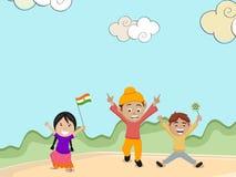 庆祝印地安共和国天的逗人喜爱的孩子 免版税库存图片
