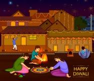 庆祝印度的屠妖节节日的印地安家庭人民 库存例证