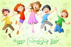 庆祝友谊天的孩子 免版税库存图片