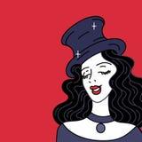 庆祝和党 葡萄酒排行邀请或卡片的横幅 余兴节目减速火箭性感 减速火箭的帽子的迷人的妇女和 库存例证