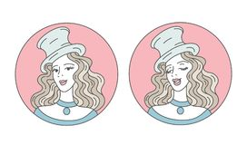 庆祝和党 葡萄酒排行邀请或卡片的横幅 余兴节目减速火箭性感 减速火箭的帽子的迷人的妇女和 皇族释放例证