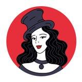 庆祝和党 葡萄酒排行邀请或卡片的横幅 余兴节目减速火箭性感 减速火箭的帽子的迷人的妇女 库存例证