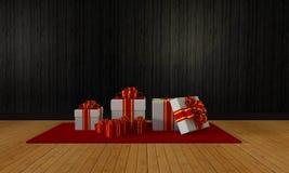 庆祝和节日3D翻译的礼物盒 图库摄影