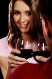 庆祝圣情人节的夫妇 免版税库存图片