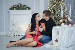 庆祝圣诞节夫妇 库存图片