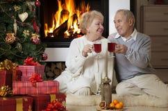 庆祝圣诞节的资深夫妇 免版税库存照片