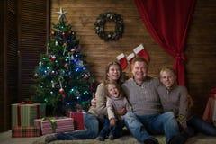 庆祝圣诞节系列愉快的家 库存图片