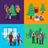 庆祝圣诞节Clipart例证的人们 免版税库存图片