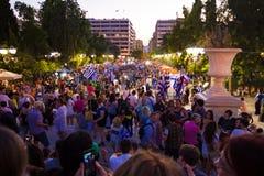 庆祝在公民投票结果以后的希腊 免版税库存图片