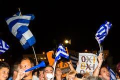 庆祝在公民投票结果以后的希腊 免版税图库摄影