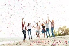 庆祝在海滩的小组青年人 库存图片