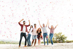 庆祝在海滩的小组青年人 免版税库存图片