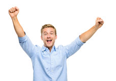 庆祝在白色背景的愉快的年轻人成功 免版税库存图片