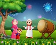 庆祝在自然视图的愉快的回教家庭Eid节日 皇族释放例证