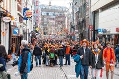 庆祝在Koninginnedag的人们2013年 库存照片