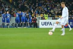 庆祝在UEFA欧罗巴16在发电机和埃弗顿之间的秒腿比赛同盟回合的埃弗顿目标  免版税库存照片