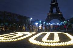 庆祝地球时数国际巴黎 免版税库存图片