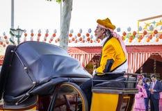 庆祝塞维利亚` s 4月市场的传统骑乘马支架 免版税库存图片