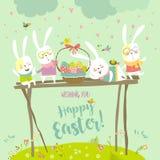 庆祝复活节的滑稽的兔宝宝 免版税库存图片