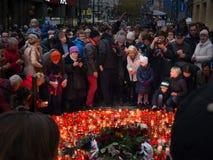 庆祝天鹅绒革命的第28周年在布拉格 免版税库存照片