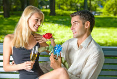 庆祝夫妇户外 免版税库存图片
