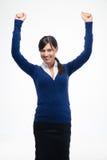 庆祝她的优胜者的成功女实业家 库存图片