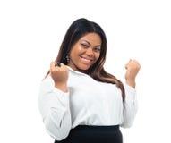 庆祝她的优胜者的非洲女实业家 免版税库存照片