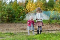 庆祝姐妹的第一个生日的两个女孩 库存照片