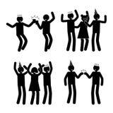 庆祝姿势被设置的黑图表剪影 库存例证