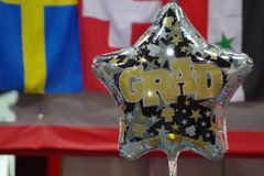 庆祝学生的毕业的气球 库存照片