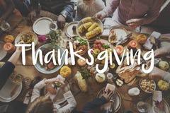 庆祝感恩的膳食概念的感恩祝福 免版税库存照片