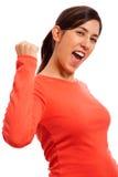 庆祝成功妇女 免版税库存图片