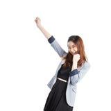 庆祝成功成功的年轻人的女实业家 库存图片