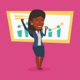 庆祝成功的成功的女商人 免版税库存图片