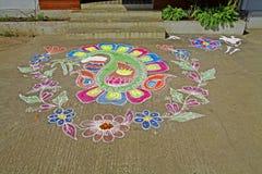 庆祝收获的Taditional Rangoli southindian门限 库存图片